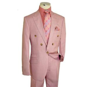 Extrema Men's Solid Light Pink Single Button Double Breasted Classic Fit Suit