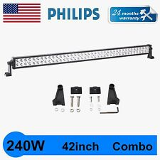 42INCH 240W Philips SPOT FLOOD WORK DRIVING LED LIGHT BAR 12V 24V 4WD JEEP TRUCK