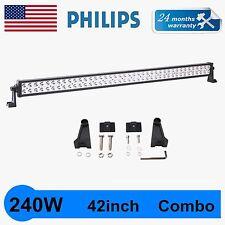 42INCH 240W Philips SPOT FLOOD WORK DRIVING LED LIGHT BAR 12V 24V JEEP TRUCK NEW