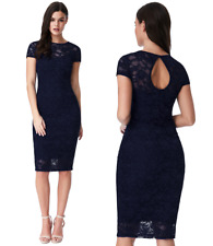 Goddess London Navy Lace Short Sleeve Wiggle Knee Length Evening Party Dress