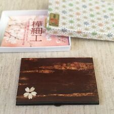 Japanese Kaba Cherry Tree Wooden Card Case with Embedded Flower