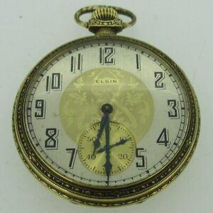 Antique 1924 Elgin Grade 345 Model 3 12s 17J 14k Gold Filled Pocket Watch