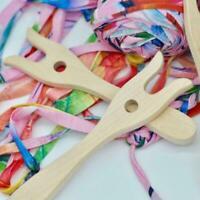 Handmade Knitting Tool Wooden Fork Shape Loom Craft HOT DIY Braider Kids U6A0