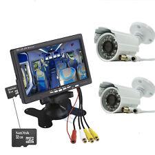 """Kit Videosorveglianza Monitor DVR 7"""" Due Telecamere CCD CCTV HD Scheda SD 32GB"""