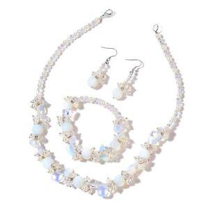 Opalite, Multi Gemstone Stainless Steel Bracelet, Earrings & Necklace   #JN1009