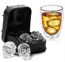 Skull Shape 3D Ice Cube Mold Maker Bar Party Silicone Trays Mould Whiskey Mold