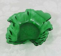 "Vintage Anchor Hocking Forest Green Glass Dish Maple Leaf 6.5"" Nuts Candy"