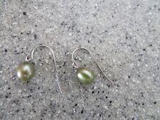HONORA pear/tear drop STERLING SILVER pierced earrings/ear wires GREENISH/GREY