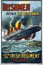 WW1 World War 1 Ireland propaganda Lusitania poster photo 100 years 1914-2014