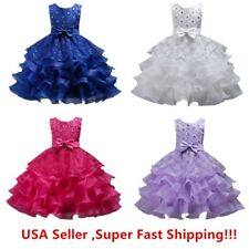 Wedding Flower Girl's Bridesmaid Ruffles Lace Cute Bow Waist Evening Dress