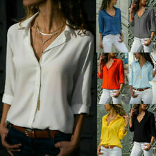 Women's Solid Chiffon Casual Button Down T Shirt Blouse Long Sleeve V Neck Tops