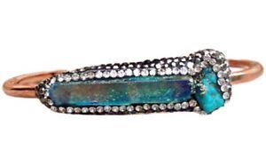 Druzy Bangle Stacking Bracelet Rose Gold Zircon Pave Drusy Rainbow Aura Titanium