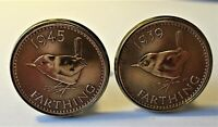 Genuine VINTAGE WW2 1939/1945 Farthing Cufflinks