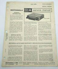 MOTOROLA Vintage AM CAR RADIO TM529A Service & User Manual