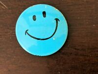 Vintage 1960-70's Blue Smiley Face Litho Pin Pinback Button