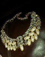 Crystal Gold Tone Free Ship Us Necklace Vintage Style New Pearl Rhinestone
