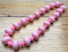 Kitsch Baby Pink Bead Necklace/Bobble/Short/Plastic Retro Look/70's/80's/Dolly