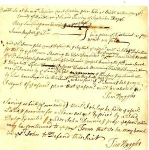 1746 Col Am Doc>TIMOTHY RUGGLES SIG! (Brig Gen-Loyalist Official) BANISHED-MASS