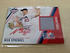 Nick Sprengel 2018 USA Stars & Stripes Material Auto Red Ink SP #294/299