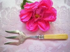 ANTIQUE BREAD FORK STERLING SILVER COLLAR FAUX BONE ETCHED JD WD SHEFFIELD 1907