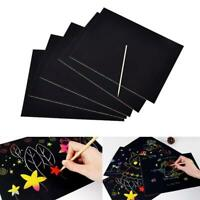 10pcs Funny Magic Scratch Art Painting Paper With Drawing Stick Kids Toy A4 2010