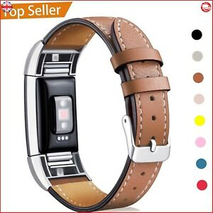 Fitbit Charge 2 Replacement Band Genuine Calf Leather Strap Classic Adjustable