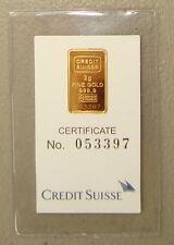 ~ Credit Suisse 2 Gram .9999 Gold Bullion Bar ~