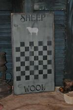 Ex Lg Sage Green Wood Sign Sheep Wool Game Board Country Primitive Folk Art