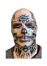 Adult size Faux Real Tattoo Face Halloween Mask Costume Accessory Mesh Eyes A13