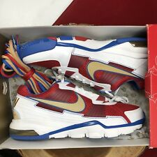 NIKE AIR TRAINER SC 2010 LOW MANNY PACQUIAO WHITE GOLD RED BLUE 407846-176 Sz 10