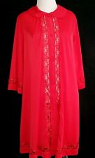 1960s Mid Century Vintage Red Button Front Nightgown Lingerie Robe Red Medium