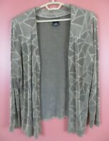 STK3740- CITIKNITS Womens Textured Slinky Travel Knit Open Front Jacket Geo M