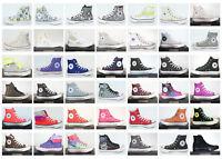 Neuf All Star Converse Chucks Hi Lin + Cuir Femme Chaussures Baskets Plusieurs