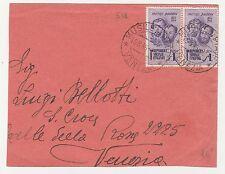 STORIA POSTALE 1945 R.S.I. FRATELLI BANDIERA COPPIA 1 LIRA SU BUSTA MUSILE PIAVE
