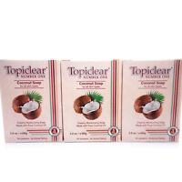 3 Pack Topiclear Coconut Oil Moisturizing Soap Jabon Hidratante Aceite de Coco