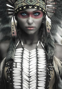 Girl Native American Indian Headdress Warrior Girl Woman Quality Canvas Print A3