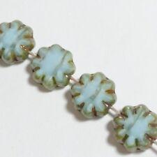 6pcs Light Aquamarine Blue Czech Glass Flower Beads 9mm Table Cut Boho GB46