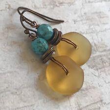 Min Favorit Desert Gold Sea Glass, Turquoise & Copper Artisan Earrings