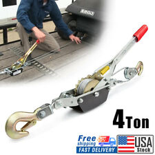4 Ton 8800lbs Power Puller Hand Winch Steel Cable Come Along Tighter With 2 Hooks
