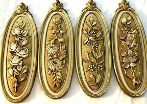 VTG MCM Syroco USA 4 Floral Leaves Roses Berries Dogwood Wall Plaques Gold Tone