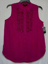 NWT Style & Co 1X  Deep Fuschia Pink Cotton Gauze Top Embroidered Shirt  NEW
