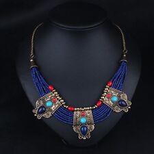 Retro turquoise coral beads lapis lazuli stone Tibetan silver unique necklace #1