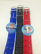 "Macho 1 3/4"" Double Nylon SPIKED DOG COLLAR Choose from Red Black Blue and size"