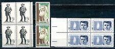 USA 2  Blocks of 4 & 1 pair of 1964 - Sam Huston  John F Kennedy & John Muir MNH