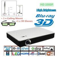 8000 Lumens 4K HD 1080P Home Theater Cinema LED DLP 3D Wifi Projector HDMI VGA