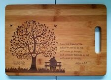 "Personalized Bamboo Cutting Board Wedding Christmas Anniversary 13 3/4"" x 9 3/4"""
