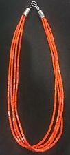 Native American Orange bamboo Coral tube  beads Sterling Silver.Necklace, USA
