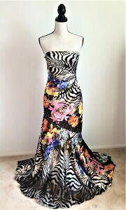 Night Moves Sequined Multicolor Strapless Formal Evening Gown Dress, Size 8