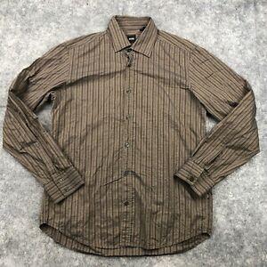 Hugo Boss Button Up Shirt Mens Large Brown Striped Long Sleeve