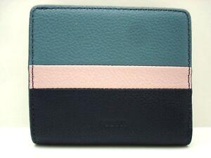 Authentic New Fossil Emma Mini Bi-Fold Leather Wallet Blue Pink Multi SL7689403